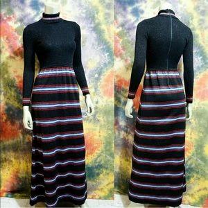 VTG 60s Cyn Les Sweater Dress Rainbow Stripe